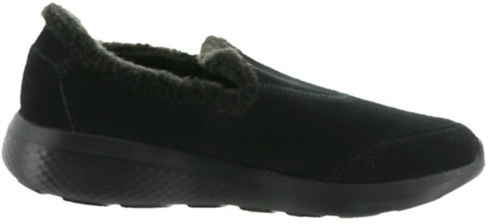 Primary image for Skechers GOwalk Suede Faux Fur Shoes Captivating Black 9M NEW A296619