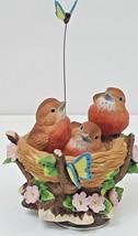 Vintage 1995 Ceramic Birds in Nest Butterflies San Francisco Music Box C... - $25.93