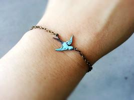 Patina Sparrow Bracelet Soaring Sparrow Bracelet Patina Bird Charm Bracelet - $24.00