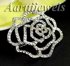 Victorian 2.50ct Rose Cut Diamond Rose Shape Wedding Brooch Christmas We... - $568.01