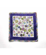 "Colorful 1950s Confetti Boxes Handkerchief White Background Roll Hem 17""... - $15.90"