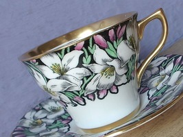 Vintage 1950's Rosina England black gold white lily bone china Tea cup t... - $38.61