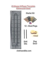 Cribbage Board Template 3 Lane Starter Kit with Pegs and Drill Bits - $67.99