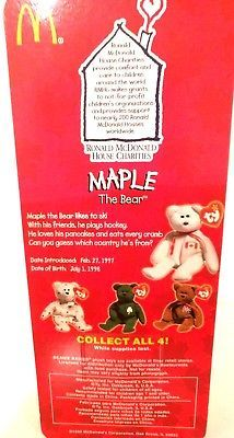 TY TEENIE BEANIE BABIES 1997 RONALD MCDONALD HOUSE CHARITIES ~MAPLE THE BEAR~ image 4