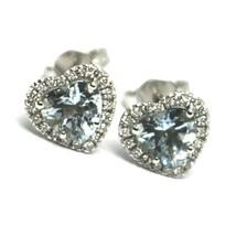 18K WHITE GOLD LOVE HEART EARRINGS AQUAMARINE WITH DIAMONDS FRAME, DIAMETER 9 MM image 1