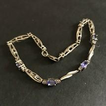 """925 Co Sterlingsilber 7 """" Ineinandergreifender Armband Blau Violett Edel... - $23.03"""