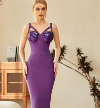 2021 New Winter Spaghetti Strap Sleeveless Bandage Dress Sexy Sequins Women Midi image 6