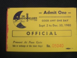The Meadowlands New Jersey NJ Official Stub Admit One 9/2-12/30 1980 - $3.95