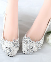 Women's Ivory bridal ballet flats,Crystal Wedding Shoes,White bridal sho... - £32.59 GBP