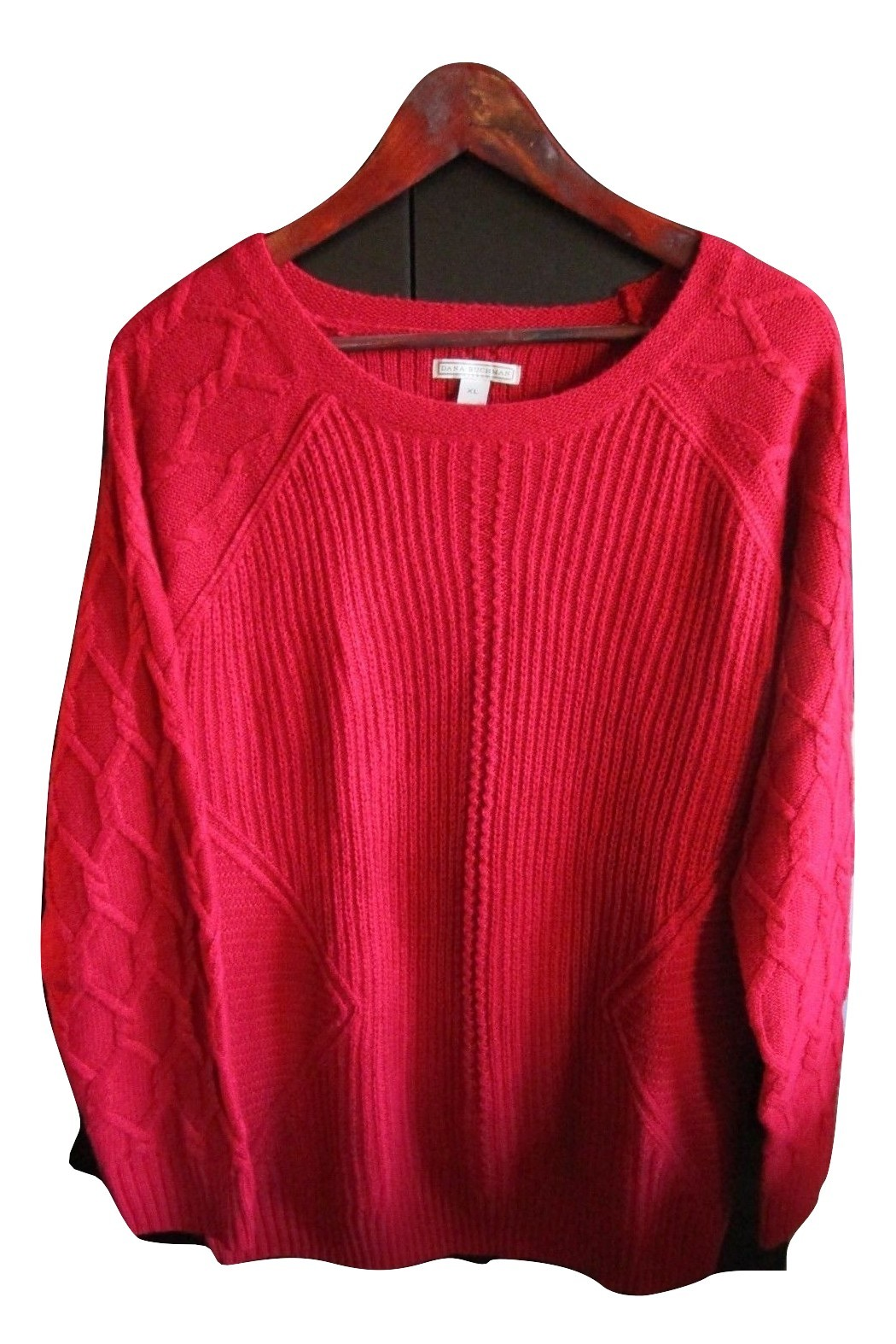 Women's Red Round Neck Dana Buchman Sweater, Size XL--FREE Priority Shipping!
