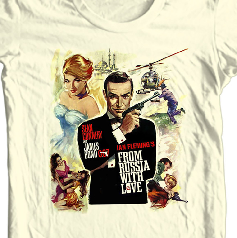 James bond 007 from russia with love sean connery t shirt white sizes small  through 5 xl