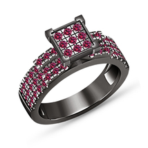 Round Cut Pink Sapphire Engagement Ring 14K Black Gold Finish Solid 925 ... - $79.98