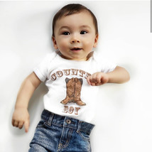 Country boy bodysuit with cowboy boots | Cowboy outfit | Country boy shirt - $19.99