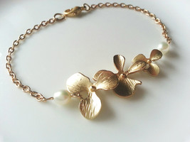 Matte Gold Orchid Trio Pearl Anklet Gold Orchid Ankle Bracelet Orchid An... - $46.00