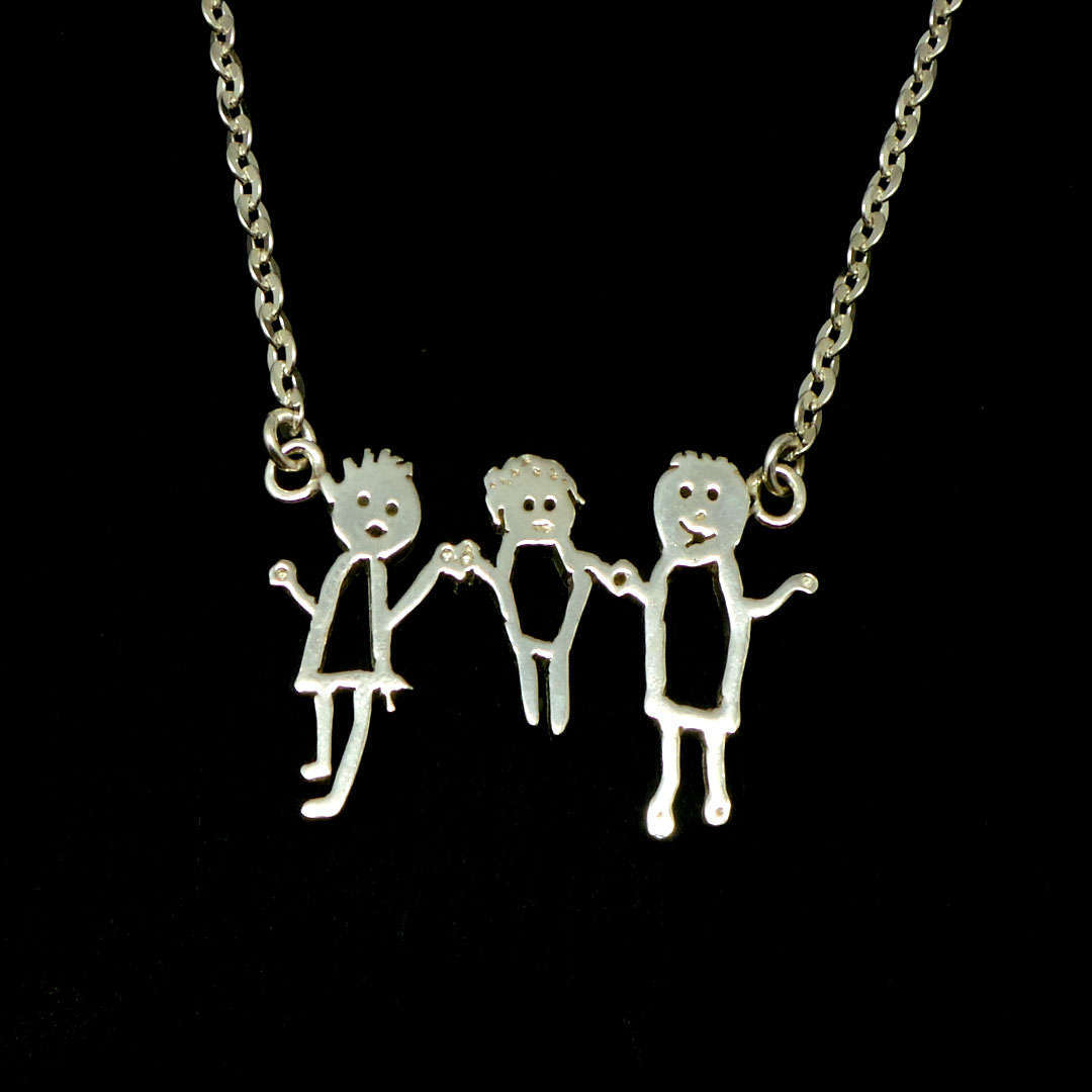 Silver Personalized Kid Art Drawling Necklace Choker