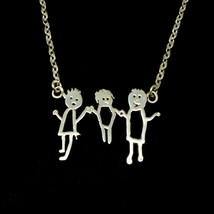 Silver Personalized Kid Art Drawling Necklace Choker  - $42.00