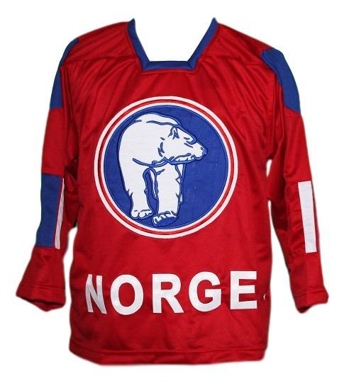 Per age skroder  19 team norway norge custom hockey jersey red   1