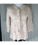 Vintage 1980 Pink Knit Sweater 3/4 Length Sleeve Button Snap Front Handmade - $43.14