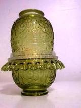 SOLD***3639 Fenton Colonial Green Persian Medallion Fairy Lamp - $50.00