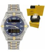 Breitling Aerospace Titanium F65062 Digital Blue 40mm Two-Tone Gold Quar... - $1,693.61