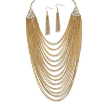 Multi-Chain Yellow Gold Tone Necklace and Earrings Set - $17.24