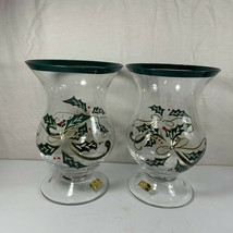 Lenox Holly Hurricane Candle Holders Glass Christmas Gold Green Set of 2 - $44.54