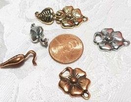 FLOWER AND LEAF FINE PEWTER TOGGLE SET - 34x15x6mm image 2