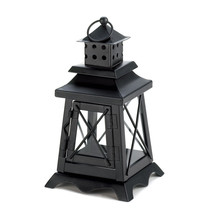 Candle Lantern, Black Small Candle Lantern Outdoor - Metal And Glass - $25.30