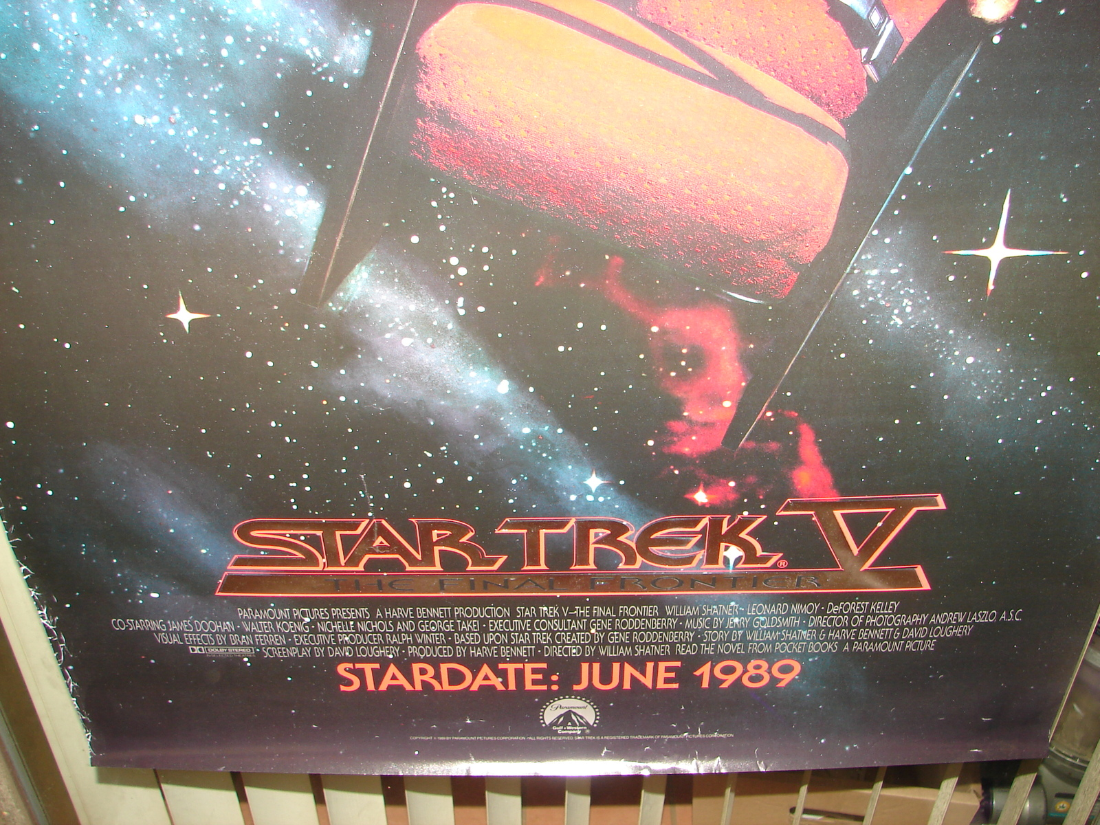 1989 STAR TREK V Advance Movie POSTER 27x40 Original Vintage 1-Sided Rolled 2