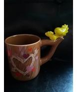 Peanuts Woodstock Mug Coffee Tea Teleflora 3D Brown Hearts Handpainted - $12.82