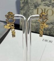 AUTH Christian Dior 2019 CLOVER CRYSTAL STAR HOOP DANGLE GOLD Earrings  image 4