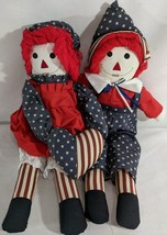 LM VNTG Americana 4th of July Red White & Blue Raggedy Ann & Andy Rag Do... - $18.69