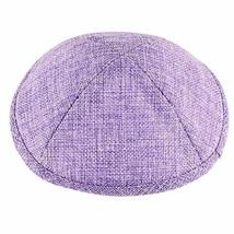Linen Kippah Purple Lavender w Pin Spot Judaica 19 cm Israel Jewish Tradition