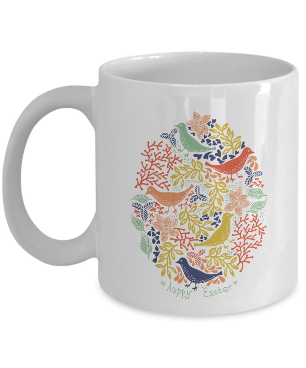 Happy Easter birds design ceramic coffee mug gifts idea