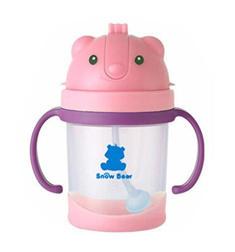 Cute Bear Infant Sippy Cups Baby Sippy Cup Children Drinking Cup PINK