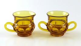 Vintage Indiana Glass King's Crown Amber Thumbprint Creamer and Sugar Bowl Set - $15.83