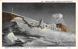 Summit House Pikes Peak Incline Railroad Snow New Year postcard - $6.39
