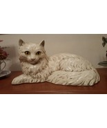Homco White Cat Figurine Statue 12 x 6 inches Signed  Kitty Home Interiors - $44.95