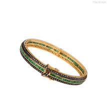 Sterling Silver Emerald Gemstone Designer Bangle Diamond Pave Bracelet 14k Gold - $2,391.10