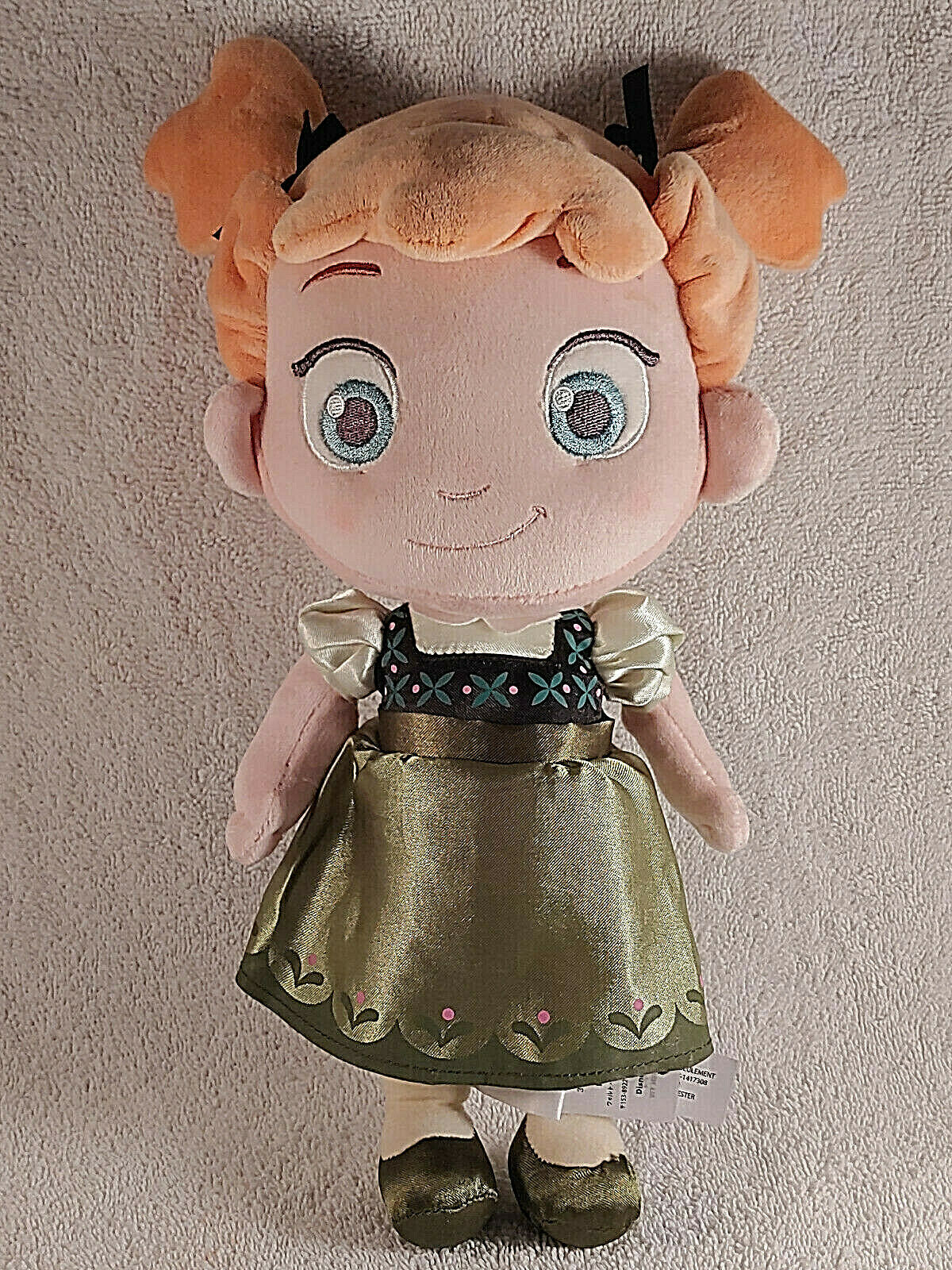 "Primary image for Disney Store Frozen Baby Princess Anna 12"" Toddler Plush  Doll Toy Green Dress"