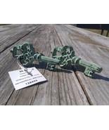 Hobby Lobby 2 Keys Cabinet Knob Handle Drawer Pull Painted Green Metal 1... - $12.69