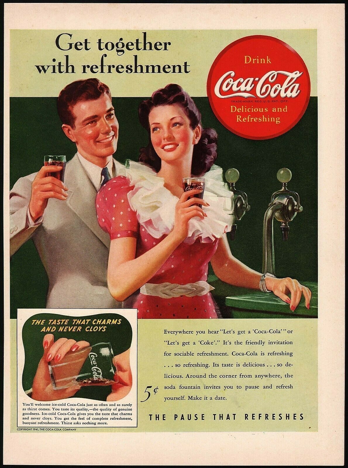 Primary image for Vintage magazine ad COCA COLA from 1941 man and women at soda fountain pictured