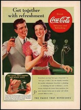 Vintage magazine ad COCA COLA from 1941 man and women at soda fountain p... - $11.69