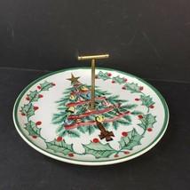 Vintage Geo Z Lefton 1956 Porcelain Christmas Tree Tidbit Tray Plate 1096T - $24.99