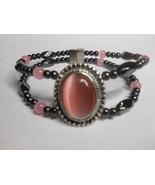Woman's Magnetic Hematite Bracelet With Peach Oval Cats Eye Stone WBOS08 - $45.00