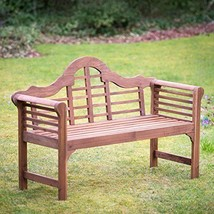 Garden Bench Wooden Weather Resistant Solid Hardwood Patio Porch Natural - $318.31
