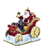 Bejeweled Crystal Enameled Santa In Sleigh Trinket Box - $114.99