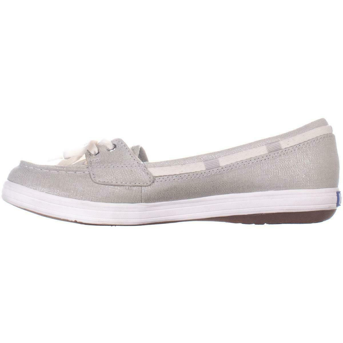 Keds Glimmer Lace Up Boat Shoes 553, Silver, 6.5 US / 37 EU image 4