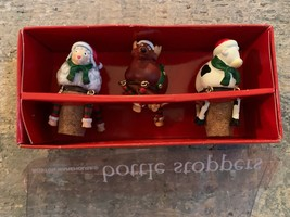 SET OF 2  WINE BOTTLE STOPPERS DANGLE CHRISTMAS BUDDIES SHEEP COW REINDEER  - $9.85
