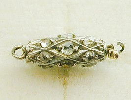 Special Antique 14k 2T Pave Old Mine Cut Diamonds Barrel Clasp For Pearl... - $350.00